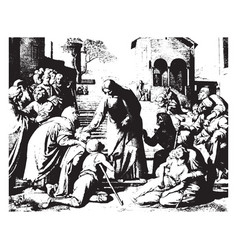 Christ healing the sick is one of seven that show vector