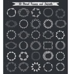 Circular vintage floral hand drawn frames vector image vector image