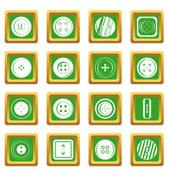 Clothes button icons set green vector