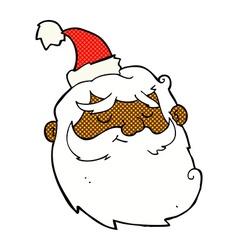 comic cartoon santa claus face vector image