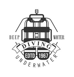 Diving underwater deep water edtd 1967 logo black vector