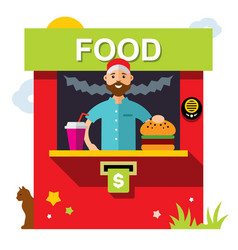 fast food outdoor kiosk flat style vector image vector image
