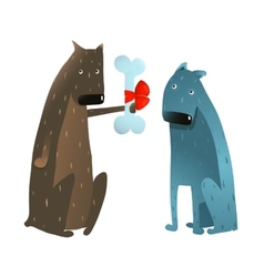 Funny Dog in Love Presenting Bone to Friend vector image vector image