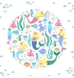 greeting banner on the marine theme cute mermaids vector image