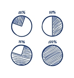 Hadn-drawn feltip pen pie chart icons set vector image