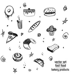 Hand drawn bakery and fast food icon set vector