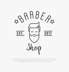 Hipster logo for barber shop with bearded man vector