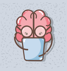 icon adorable kawaii brain reading book vector image