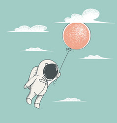 Little astronaut fly with red balloon vector
