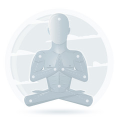 meditation man isolated on white background vector image