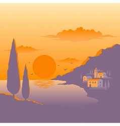 Mediterranean sunset vector