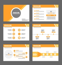 Orange presentation templates infographic elements vector