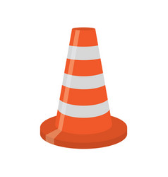 orange road cone with white lines vector image vector image