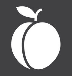 peach solid icon fruit and diet graphic vector image