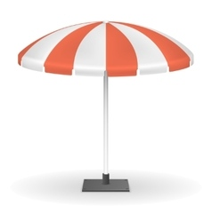 Red striped market umbrella for outdoor event vector