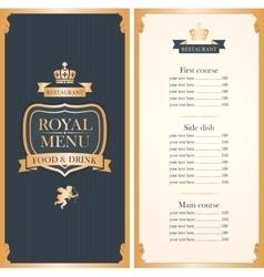 royal menu for restaurant vector image vector image