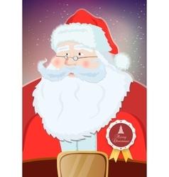 Santa Claus portrait smiling in snowfall vector image vector image