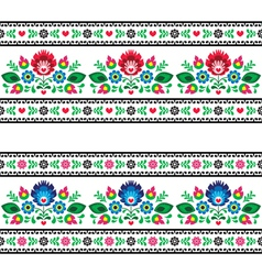 Seamless polish folk pattern with flowers vector