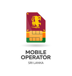 Sri lanka mobile operator sim card with flag vector