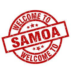 Welcome to samoa red stamp vector