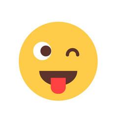 Yellow smiling cartoon face show tongue wink emoji vector
