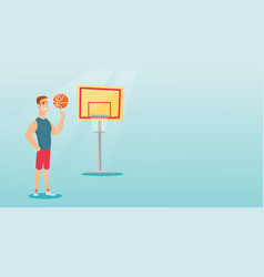 young caucasian basketball player spinning a ball vector image