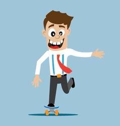 a man rides a skateboard vector image
