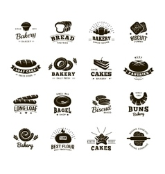 Bakery labels monochromatic set vector