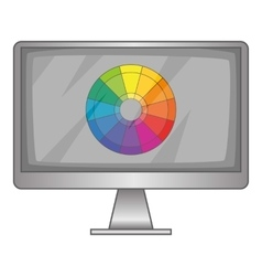 Computer monitor with color spectrum icon vector