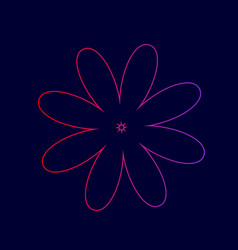 flower sign line icon with vector image