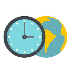 globe and clock icon isolated vector image