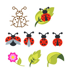Ladybug clipart set with green leaves and outline vector