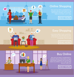 Online shopping horizontal banners vector