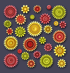Set of simple decorative flowers vector