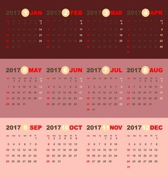 2017 calendar on beauty pink gold template vector