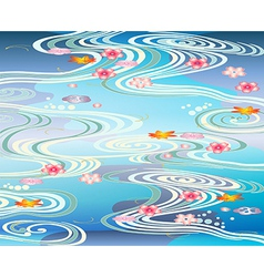 Beautiful-pool with blossoms floating on the vector