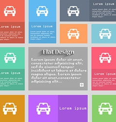Auto icon sign set of multicolored buttons metro vector