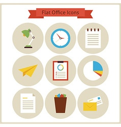 Flat business and office icons set vector