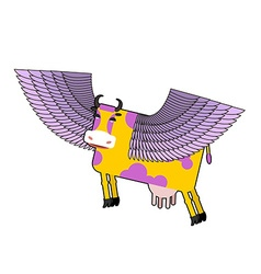 Cow with purple wings flying animal fanta vector