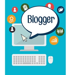 Blog and blogger social media design vector