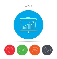 Statistic icon presentation board sign vector