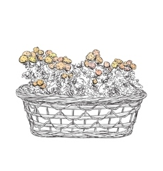 Hand drawn basket sketch with flowers vector