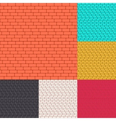 Set of brick walls seamless background vector