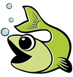 Green fish water bubbles isolated vector