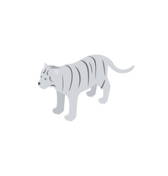 White tiger icon isometric 3d style vector