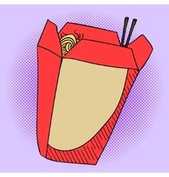Noodles in a box Pop art vector image