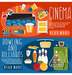 Flat design horizontal banners with cinemabowling vector