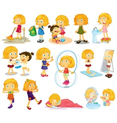 A young blondies daily activities vector image vector image