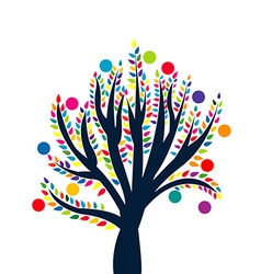 Abstract tree with colored leaves and fruits vector image vector image