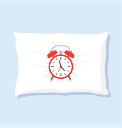alarm clock sleeping on pillow vector image